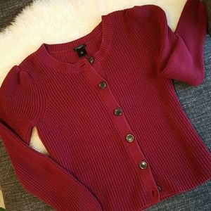 ANN TAYLOR Deep Red Cotton Cardigan-Medium